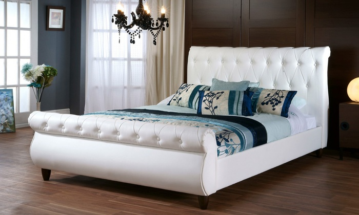 Tufted Queen Size Sleigh Bed | Groupon Goods