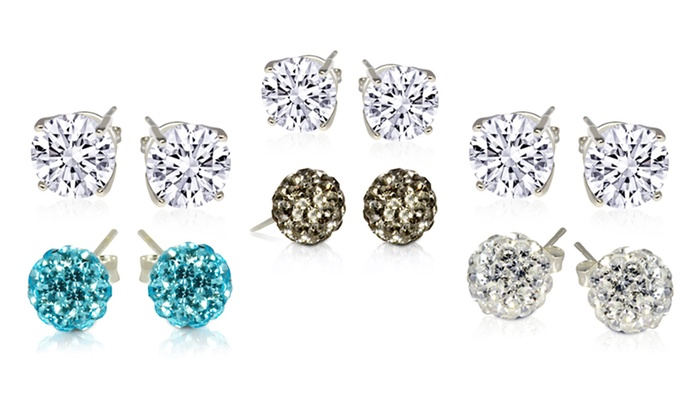 2-Pack of Simulated Diamond and Crystal Ball Stud Earrings: 2-Pack of Simulated Diamond and Crystal Ball Stud Earrings. Multiple Colors Available. Free Returns.