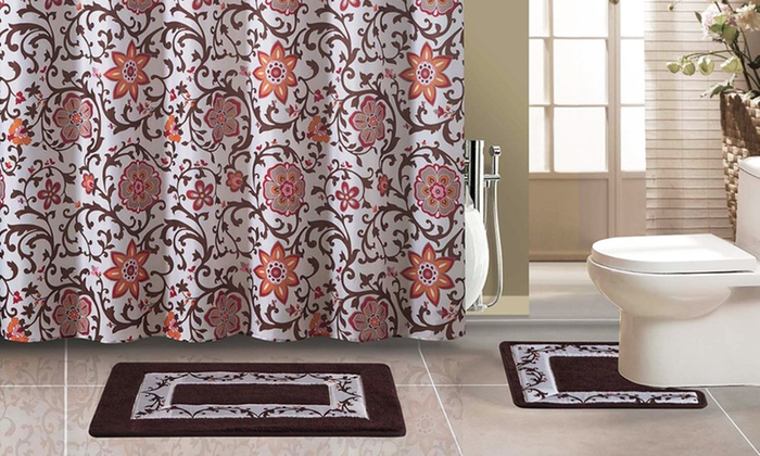 15 Piece Bath Set With Mats Shower Curtain