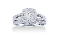 GROUPON: 1.00 CTTW Cushion-Cut Diamond Bridal Set in 10K Gold 1.00 CTTW Cushion-Cut Diamond Bridal Set in 10K Gold