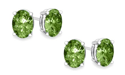 1 or 2 Pairs of Oval-Cut Genuine Peridot Stud Earrings in Sterling Silver. Multiple Options.