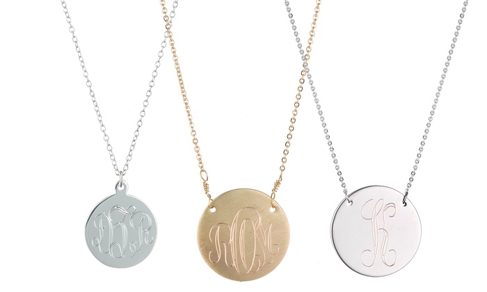 Luce Mia: Monogrammed Gold-Plated or Sterling Silver Disk Necklace from Luce Mia (Up to 59% Off). Three Options Available.