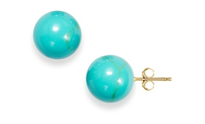 6mm-10mm Genuine Turquoise And 14k Gold Stud Earrings. Multiple Sizes From $12.99–$16.99