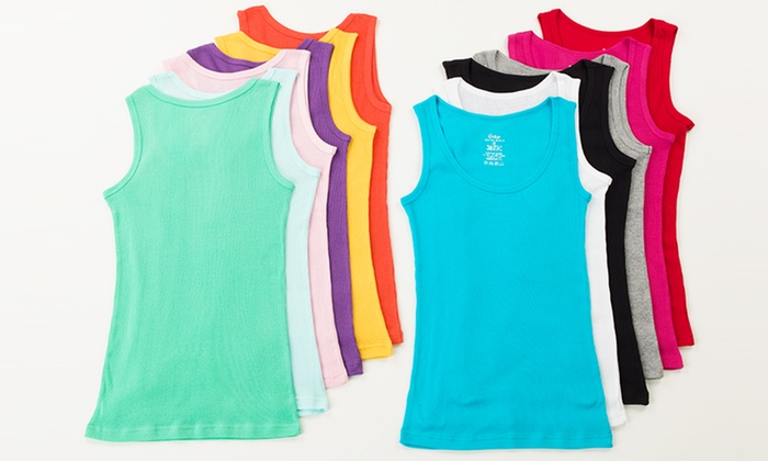 60d3521017bff8 12-Pack of Women s Ribbed Cotton Tank Tops