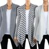 Women's Draped Hacci Cardigan with Striped Pattern