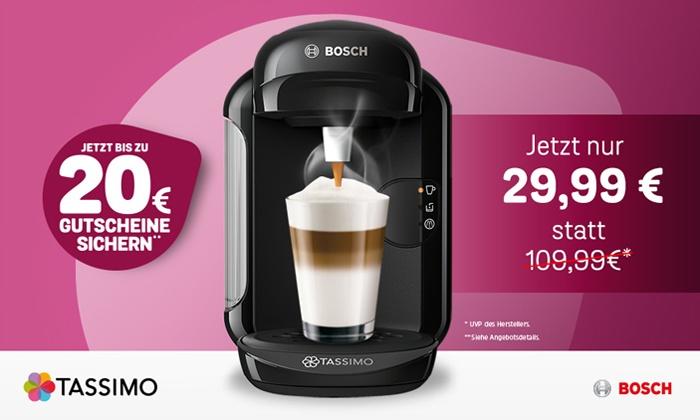 JACOBS DOUWE EGBERTS DE GmbH: TASSIMO Sparangebot: TASSIMO VIVY 2 inkl. Gutscheinen im Wert von 20 €* und Versand (73% sparen**)