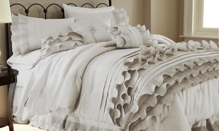 8-Piece Embellished Comforter Set: 8-Piece Embellished Comforter Set in Anastacia Pearl White or Marilyn Linen. Free Returns.