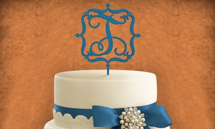6 SingleLetter Wooden Cake Topper from aMonogram Art (Half Off). Choose From Three Options.