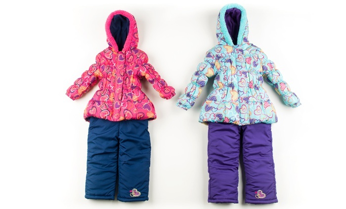Pink Platinum Heart-Printed Kids' Snowsuits: Pink Platinum Heart-Printed Kids' Snowsuit in Fuchsia or Turquoise