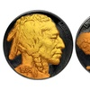 Indian Head Buffalo Nickel Covered in Black Ruthenium and 24K Gold
