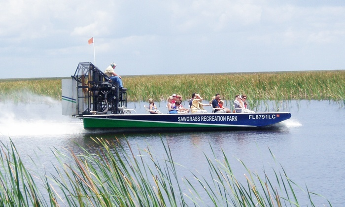 Sawgrass Recreation Park - Fort Lauderdale: Airboat Tour and Exhibit Pass or Gator Night Tour for One or Two from Sawgrass Recreation Park (Up to 30% Off)