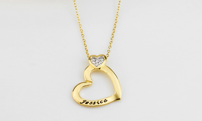 MonogramHub: $5 for a Personalized 14K Gold-Plated Heart Pendant Necklace with Cubic Zirconia from MonogramHub ($64.99 Value)