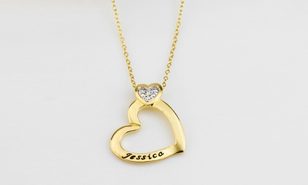 $5 for a Personalized 14K GoldPlated Heart Pendant Necklace with Cubic Zirconia from MonogramHub ($64.99 Value)