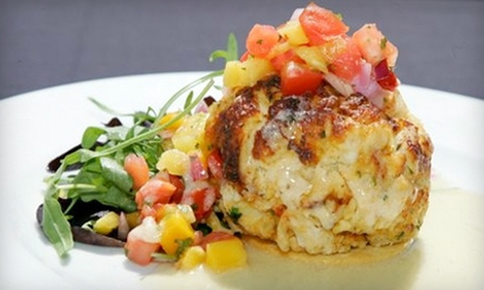 Crab Cake Factory - Jacksonville Beach: Surf 'n' Turf Dinner with Bottle of Wine for Two, or $10 for $20 Worth of Lunch at Crab Cake Factory