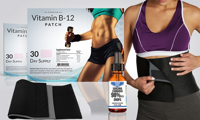 Vitamin B 12 Weight Loss Patches With A Waist Trimming Belt And Garcinia Cambogia Drops