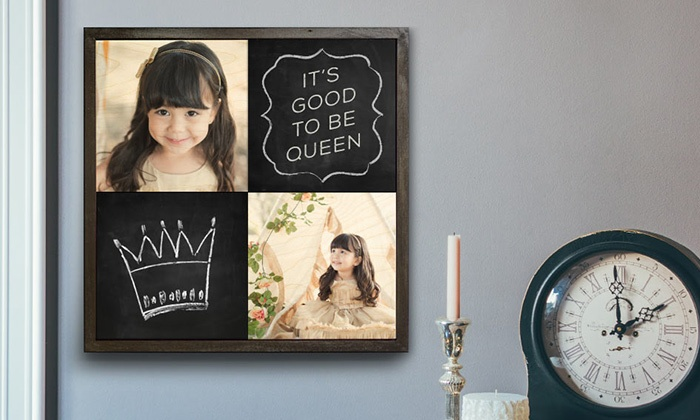 Woodsnap: Custom Chalkboard Wood Print of Two or Three Images from Woodsnap (Up to 71% Off). Four Sizes Available.