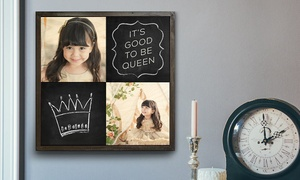 Custom Chalkboard Wood Print Of Two Or Three Images From Woodsnap (up To 71% Off). Four Sizes Available.