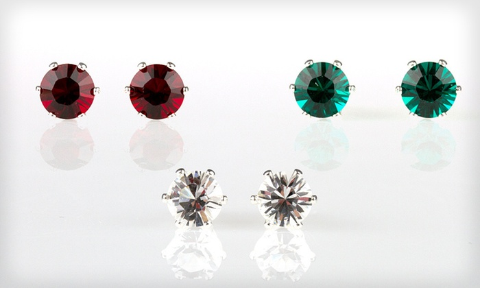 Swarovski Elements Stud Earrings: Solitaire Stud Earrings Made with Swarovski Crystal Elements (Up to 95% Off). Three Options Available. Free Returns.