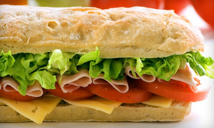 Jim and Rocks Super Sub Shop - Liverpool: Whole Subs, Large Fries, and Soft Drinks for Two at Jim and Rocks Super Sub Shop ($24.50 Value)