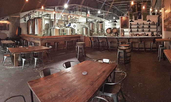 """Noon Whistle Brewing - Lombard: Tasting Experience for Two with Pint Glasses and """"Crowlers"""" at Noon Whistle Brewing (Up to 36% Off)"""