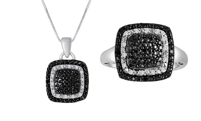 Black- and White-Diamond Ring or Pendant: 0.2-Carat Black- and White-Diamond Ring or Pendant. Free Returns.