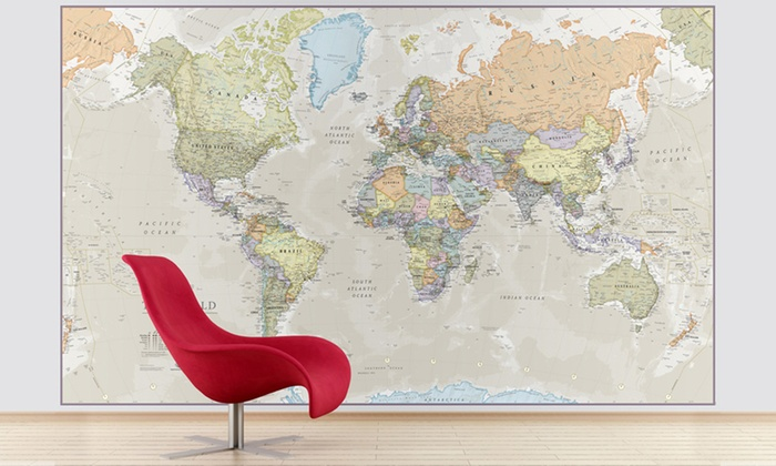Giant world map mural 54 off groupon goods groupon goods global gmbh giant world map mural in vintage design for 3999 with gumiabroncs Choice Image