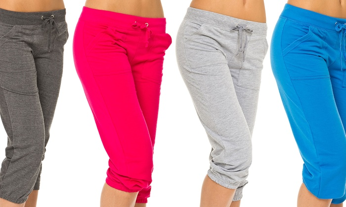 3 French Terry Capri Pants | Groupon Goods