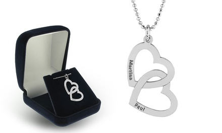 Custom Engraved Hearts Pendant in Rhodium Plated Solid Sterling Silver by Silvexcraft Design