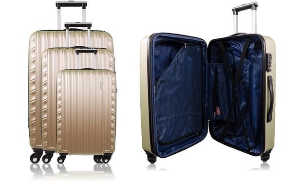 3er set bluestar koffer denver groupon goods. Black Bedroom Furniture Sets. Home Design Ideas