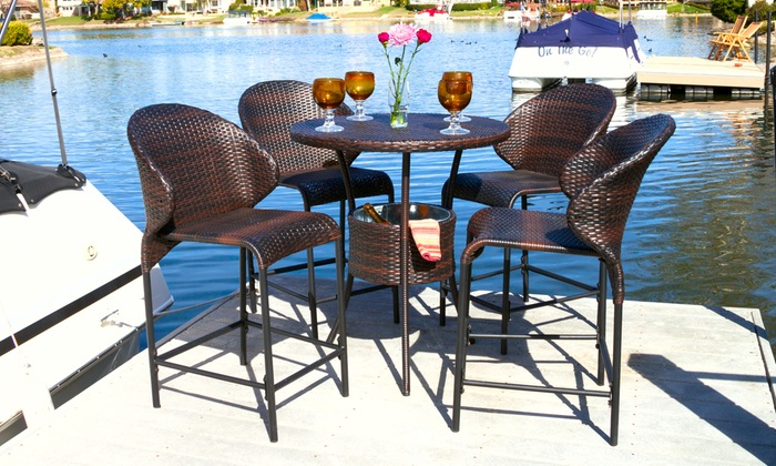 Bennet Outdoor Bistro Bar Set With Built In Ice Pail 5 Piece