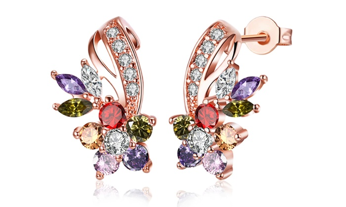 3eda89370 18K Rose Gold Plated Rainbow Swarovski Floral Earrings Stud Crystal Gold  Plated Brass