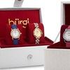 Bürgi Women's Swarovski Crystal Leather Strap and Bracelet Watch Set