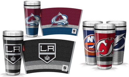 NHL Travel Mugs with Full-Wrap Woolie Design