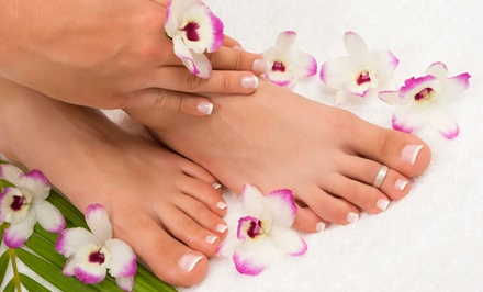 One or Two Mani-Pedis at Saba's Beauty Spa (Up to 51% Off)