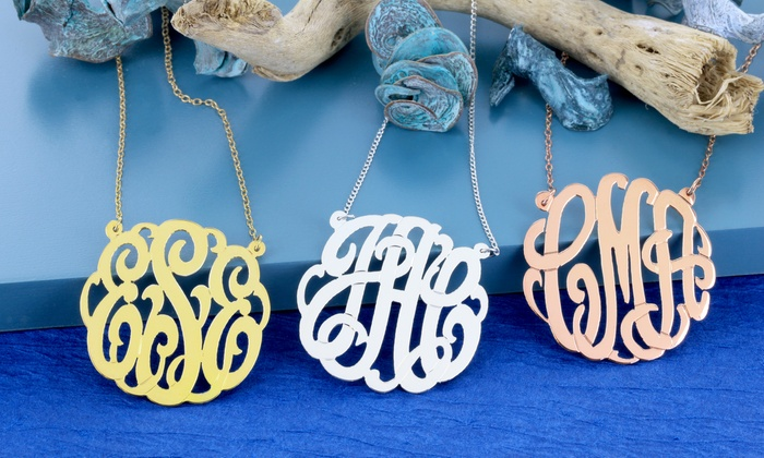 Monogram Online: Monogrammed Sterling-Silver Necklace with Optional Yellow or Rose Gold Color from Monogram Online (Up to 76% Off)