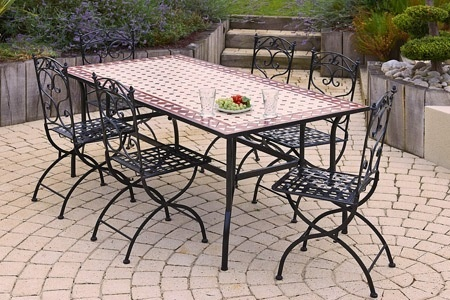 Salon de jardin 6 personnes en fer forg groupon shopping - Table de jardin ceramique et fer forge ...