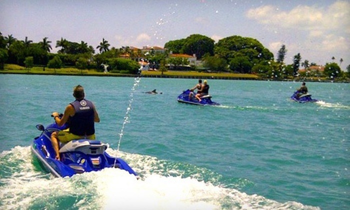 Miami Jet Ski Rental - Bayside Marina: $89 for One-Hour Jet Ski and Snorkel Trip for Two from Miami Jet Ski Rental ($190 Value)