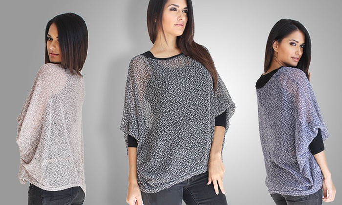 OhConcept See-Through Knitted Batwing Top: OhConcept See-Through Knitted Batwing Top. Multiple Colors Available. Free Returns.