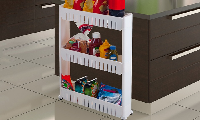 Three-Tier Slim Slide-Out Pantry on Rollers