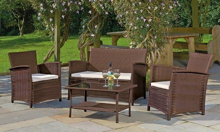 Rattan furniture set 66 off groupon for Outdoor furniture groupon