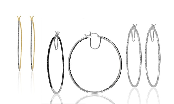 Large Diamond Hoop Earrings Groupon
