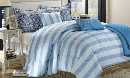 Closeout: Six-Piece Vintage Garden-Inspired Reversible-Comforter with Quilt Sets