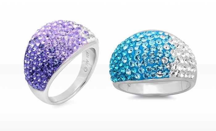 Swarovski Elements Sterling Silver Blue Fade Ring Groupon