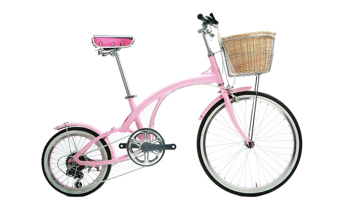 Flora Pink Cruiser Bicycle with 16.5 Frame and Wicker Basket
