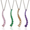 Sterling Silver Cubic Zirconia Journey Pendant Necklaces