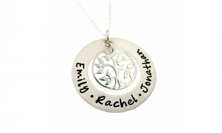 Hand-Stamped Custom Tree of Life Family Necklace from Hannah Design