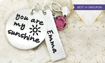 "One ""You Are My Sunshine"" Necklace with Optional Personalized Charm from JC Jewelry Design (50% Off)"