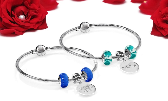 IRIS Beads & Charms: Custom Engraved Charm Bracelet with 2 Murano Beads from IRIS Beads & Charms