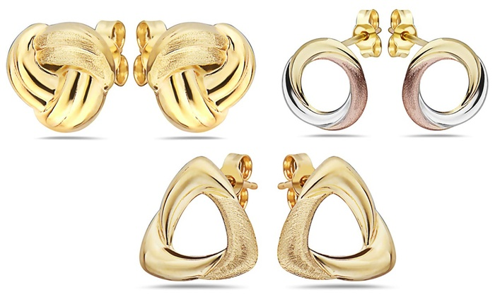 ff3cb7202 Up To 89% Off on MORICCI 14K Gold Stud Earrings | Groupon Goods