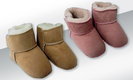 Amerileather Sheepskin Baby Booties in Baby Camel or Baby Rose.